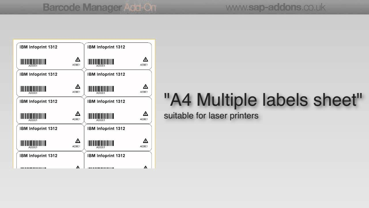 Print a product label - Barcode Manager Add-on for SAP Business One