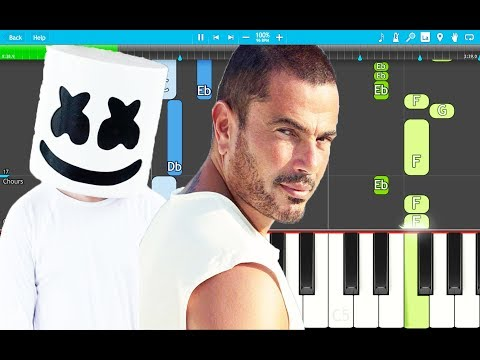 "Marshmello & Amr Diab - Bayen Habeit ""In Love "" PIANO Tutorial EASY (Piano Cover)"