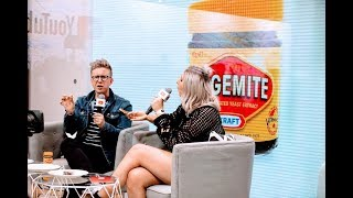 Tyler Oakley & Sarah Stone at the YouTube Red Originals Booth, VidCon Australia