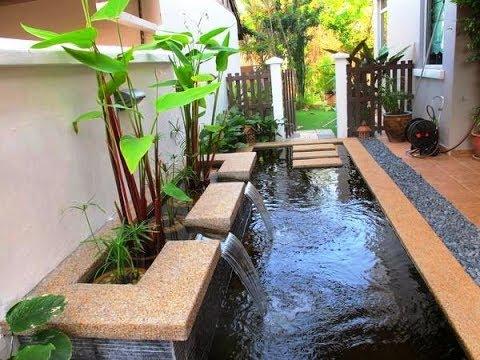 desain kombinasi teras dan kolam ikan rumah minimalis