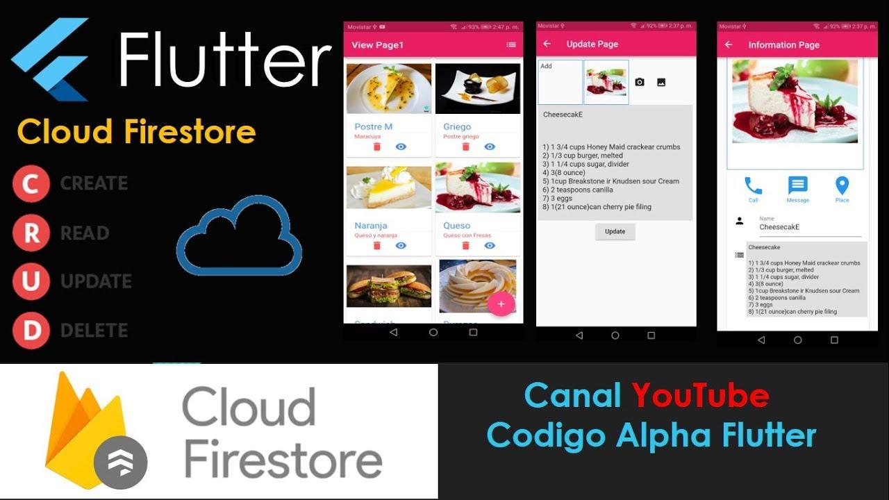 Flutter Cloud Firestore CRUD example recipes