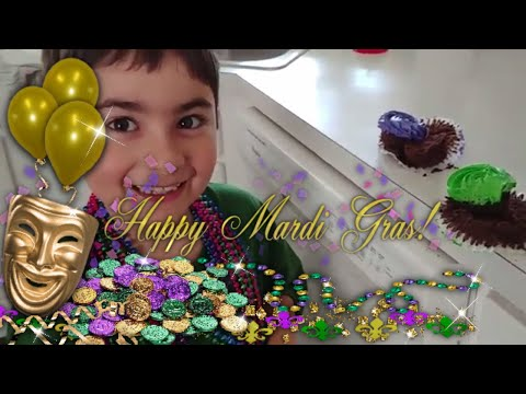MARDI GRAS FAT TUESDAY 2018 BABY IN THE CUPCAKE SHROVE TUESDAY CARNIVAL PANCAKE TUESDAY BEADS BABY