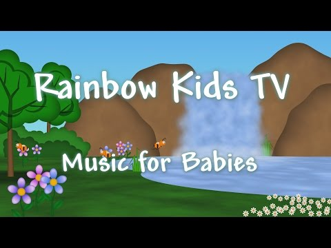 3 Hours of relaxing nature and peaceful waterfall animation - Music for Babies - Rainbow Kids TV