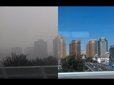 Beijing Air Pollution (before and after the rain) from the High Speed Train