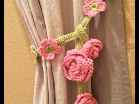 Crochet Flower CURTAIN TIE BACK YouTube