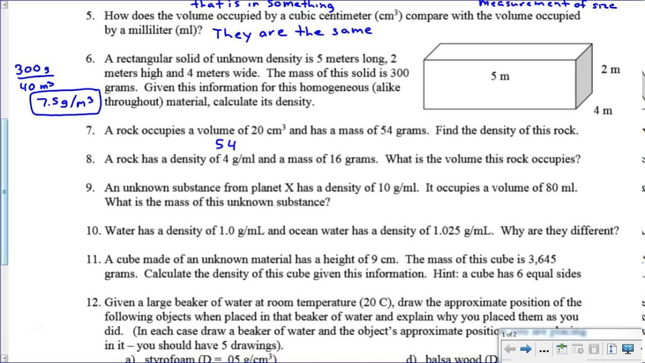Density Worksheet Key YouTube – Density Worksheet Answers