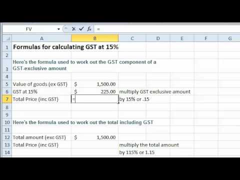 Hst Tax Calculator >> Excel tutorial - Formulas for Calculating GST at 15% - YouTube