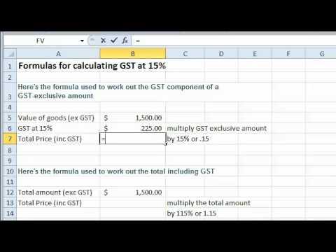 Excel tutorial - Formulas for Calculating GST at 15 - YouTube - bill calculator spreadsheet