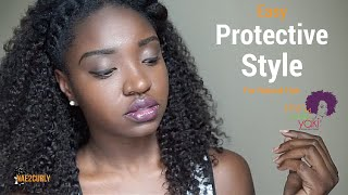 Easy Protective Style with Kinky Curly Yaki Clip-ins