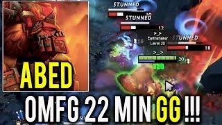 Abed - GOD of Roaming Earthshaker MID WTF 22 Min GG Power of 10k MMR Dota 2