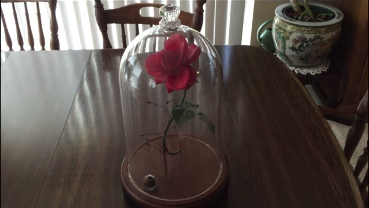 beauty and the beast enchanted rose prop with falling