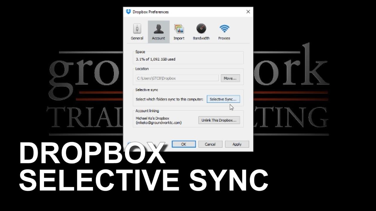 Dropbox Selective Sync Youtube