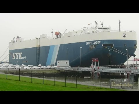 car carrier ZENITH LEADER 2ACU6 IMO 9384942 roro cargo seaship embarking brandnew export cars in Emd