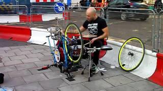 Fantastic Street Drummer on Homemade Racing Bike