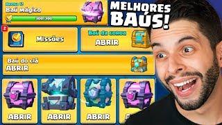 ABRI DE UMA VEZ TODOS OS MELHORES BAÚS GRÁTIS DO CLASH ROYALE!