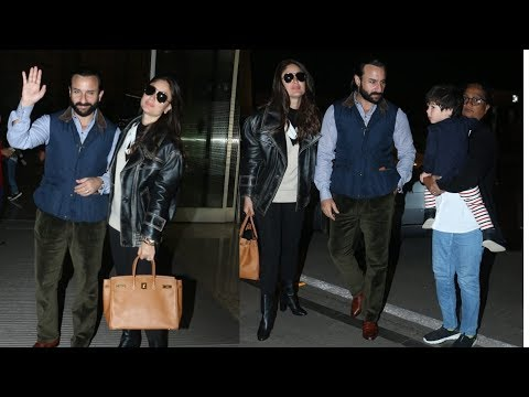 Kareena Kapoor looking so hottie with Saif and Taimur Ali Khan as they leave abroad for New Year