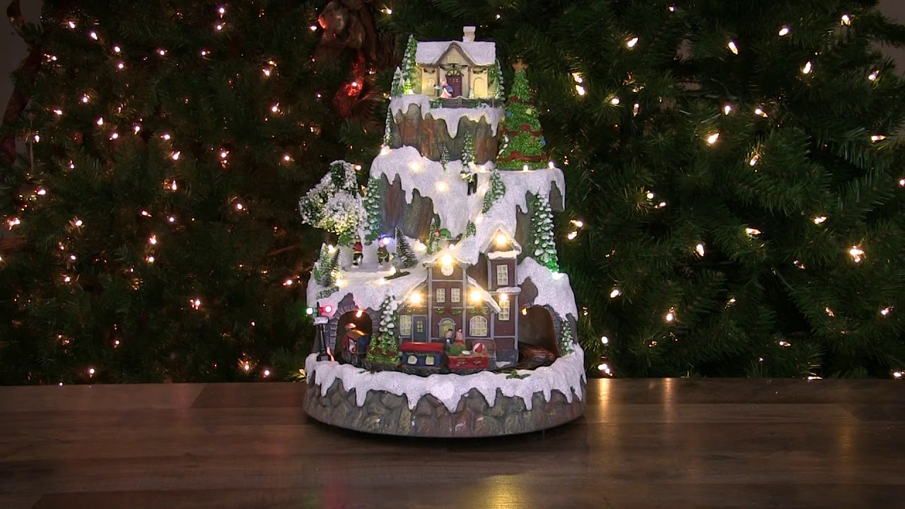Led Lighted And Animated Christmas Village With Moving Train Northlight Xh27868 Youtube