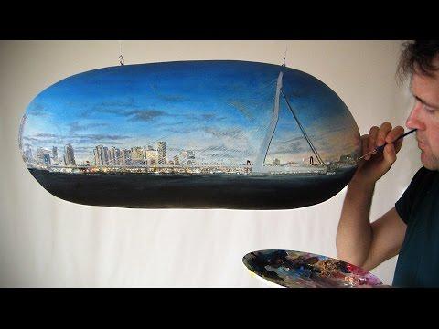 Dutch Artist Paints Panorama on Floating Potato | Making of
