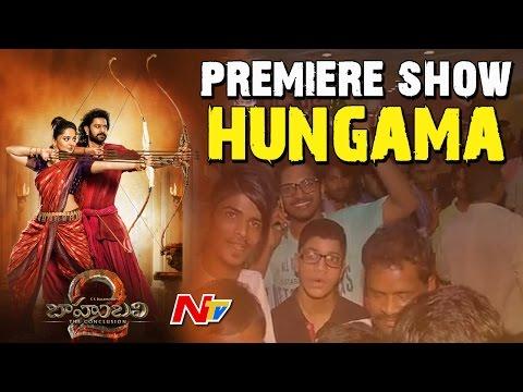 Baahubali 2 Movie Premiere Show Hungama in Hyderabad || NTV