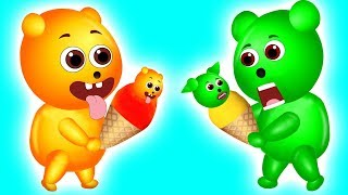 Mega Gummy Bear learning colors play doh ice cream