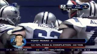 tony romo s first official snaps in the nfl called by brad charlie