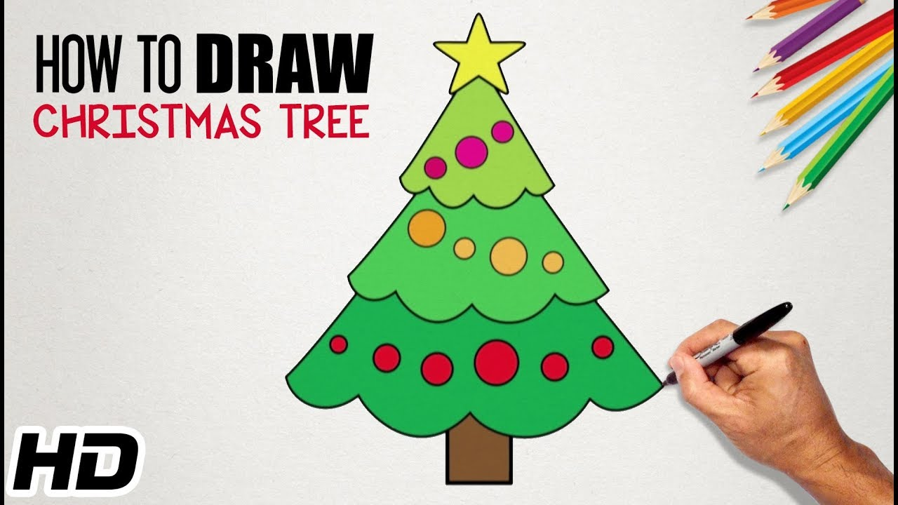 How To Draw Christmas Tree Hd Easy Drawing Videos For Kids