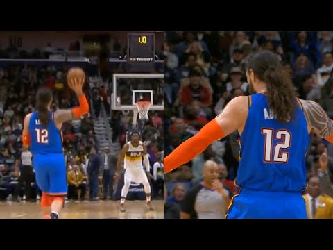 Steven Adams' First-ever 3-pointer From Half Court! Thunder Vs Pelicans