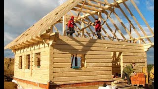 World Amazing Intelligent Wooden House Build Process - Extreme Fastest Log House Build Skills