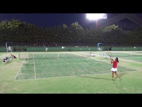 6日 テニス女子シングルス 15コート 山梨学院×浦和麗明 4回戦 2