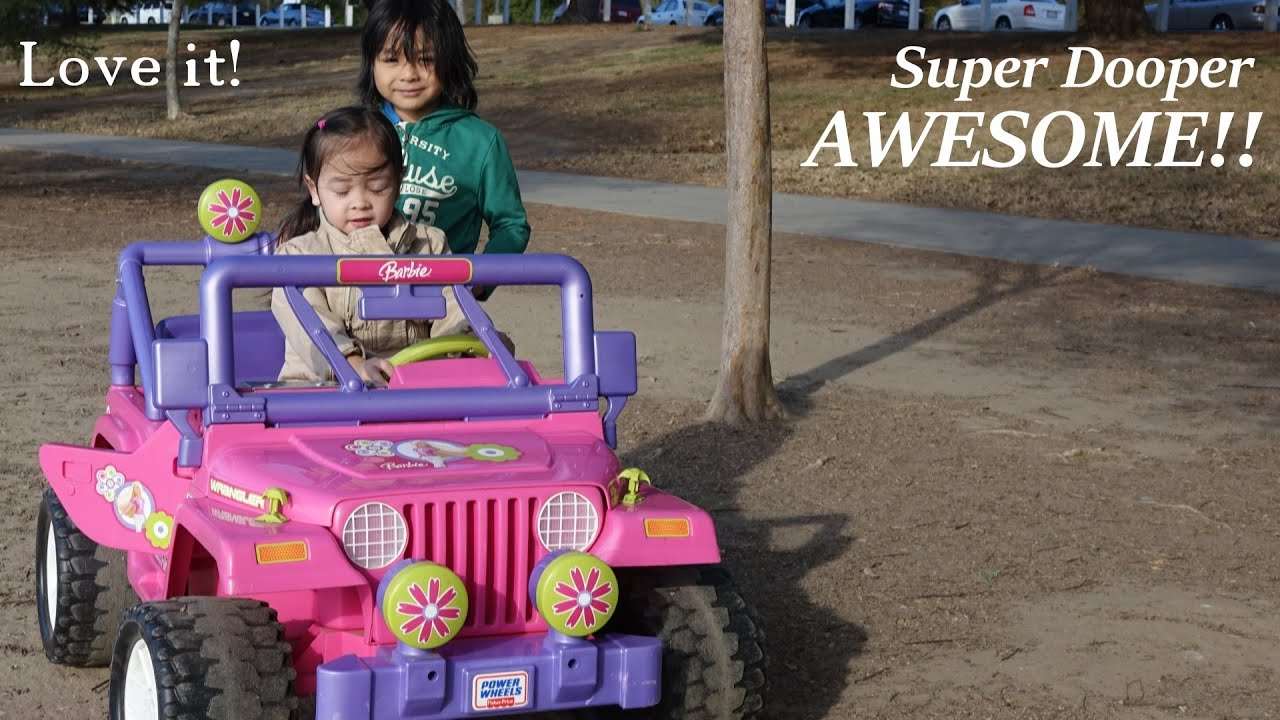 awesome toys for kids a pink barbie jeep wrangler ride on power wheels