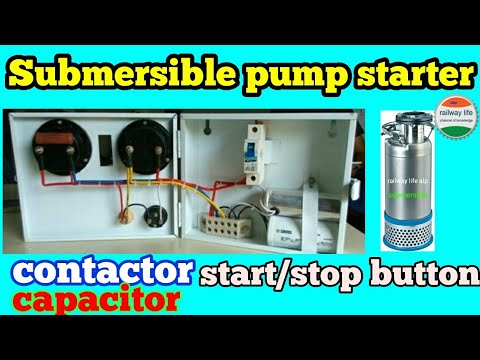 submersible pump starter wiring diagram with contactor | capacitor & on/off  switch