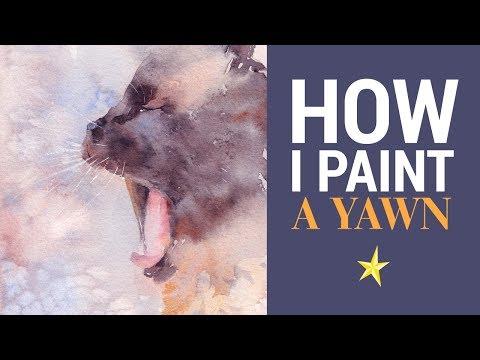 Le bâillement // peindre un chat à l'aquarelle