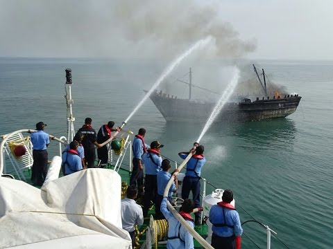 Indian Coast Guard Ship Fire Fighting Operation In The Sea