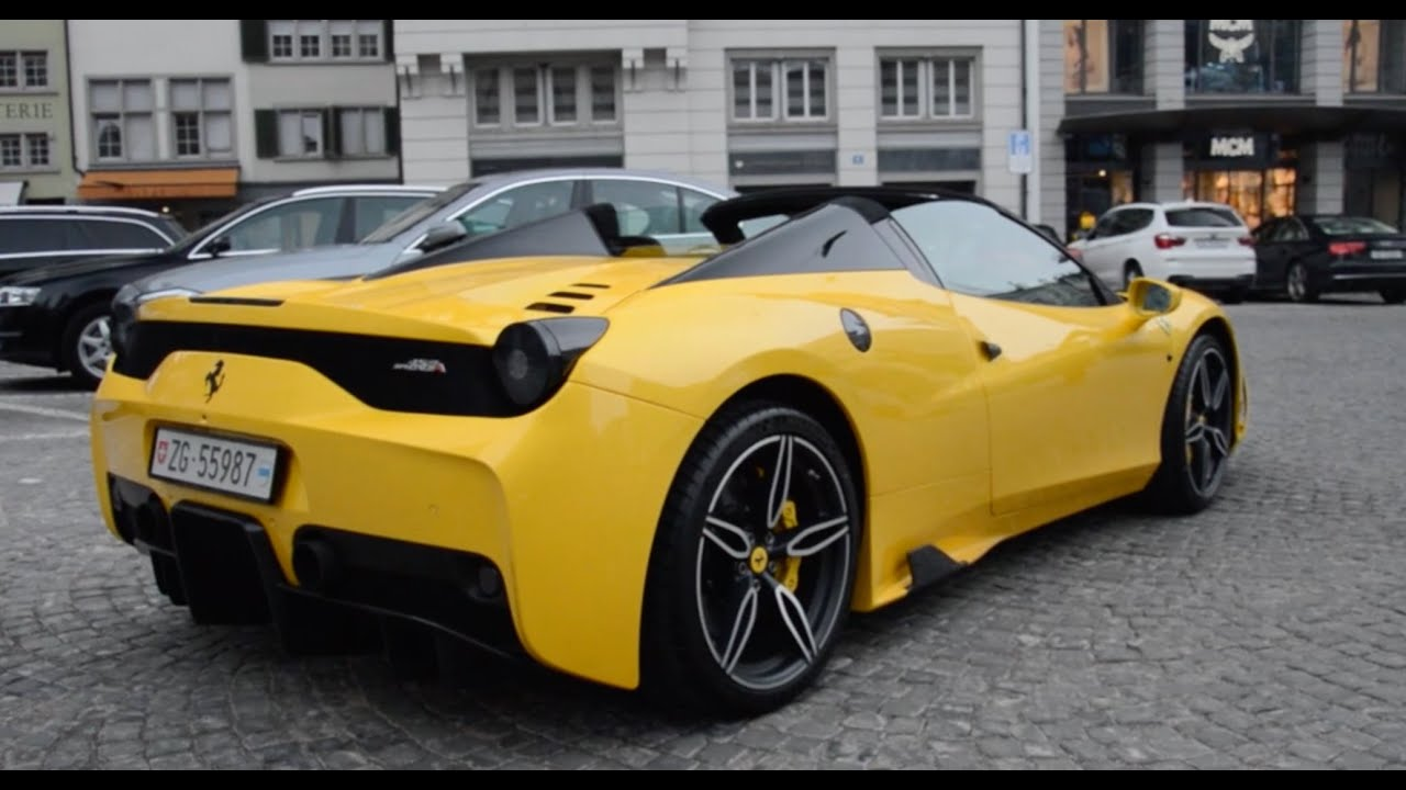 the first ferrari 458 speciale aperta in z rich great sound youtube. Black Bedroom Furniture Sets. Home Design Ideas