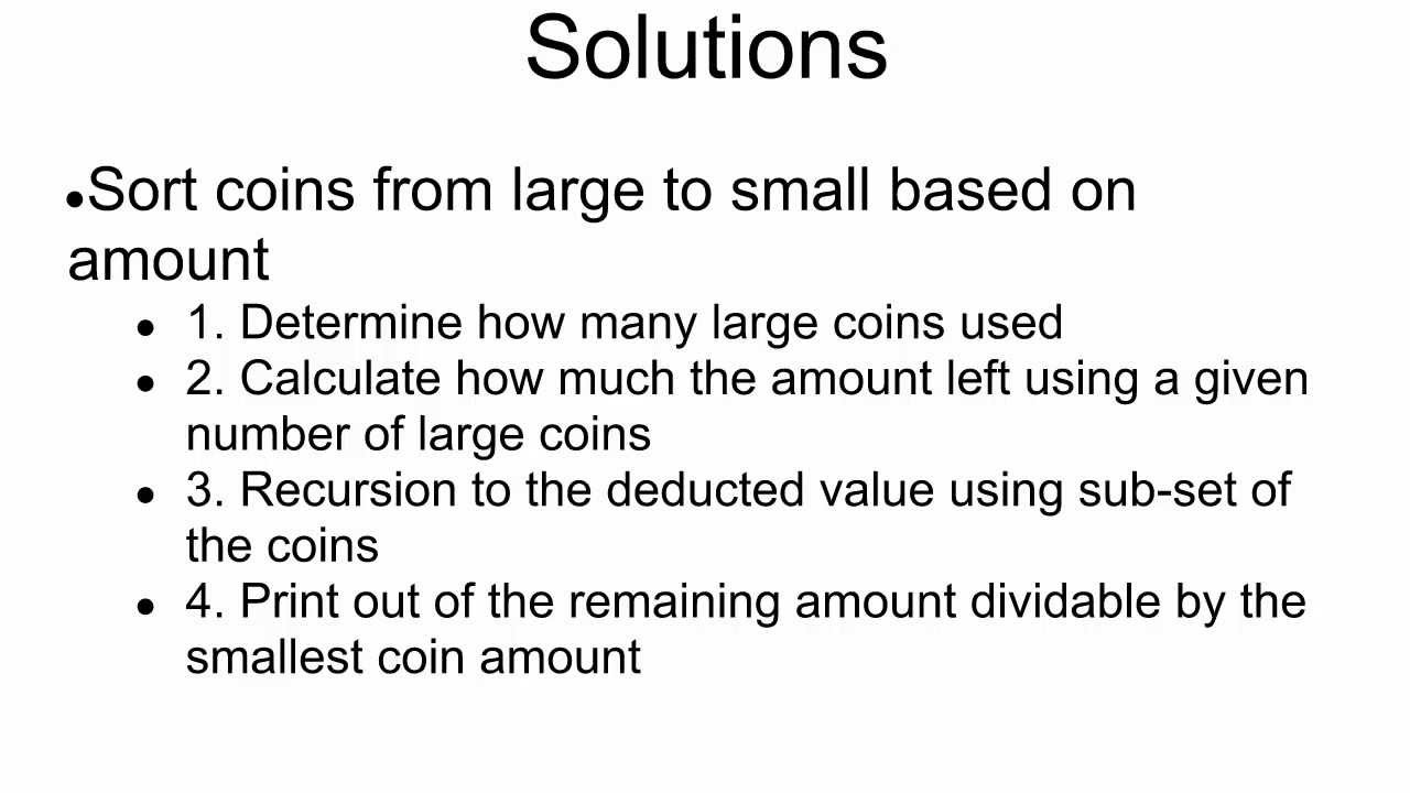 Programming Interview 14: Print all possible combinations of coins per  change amount