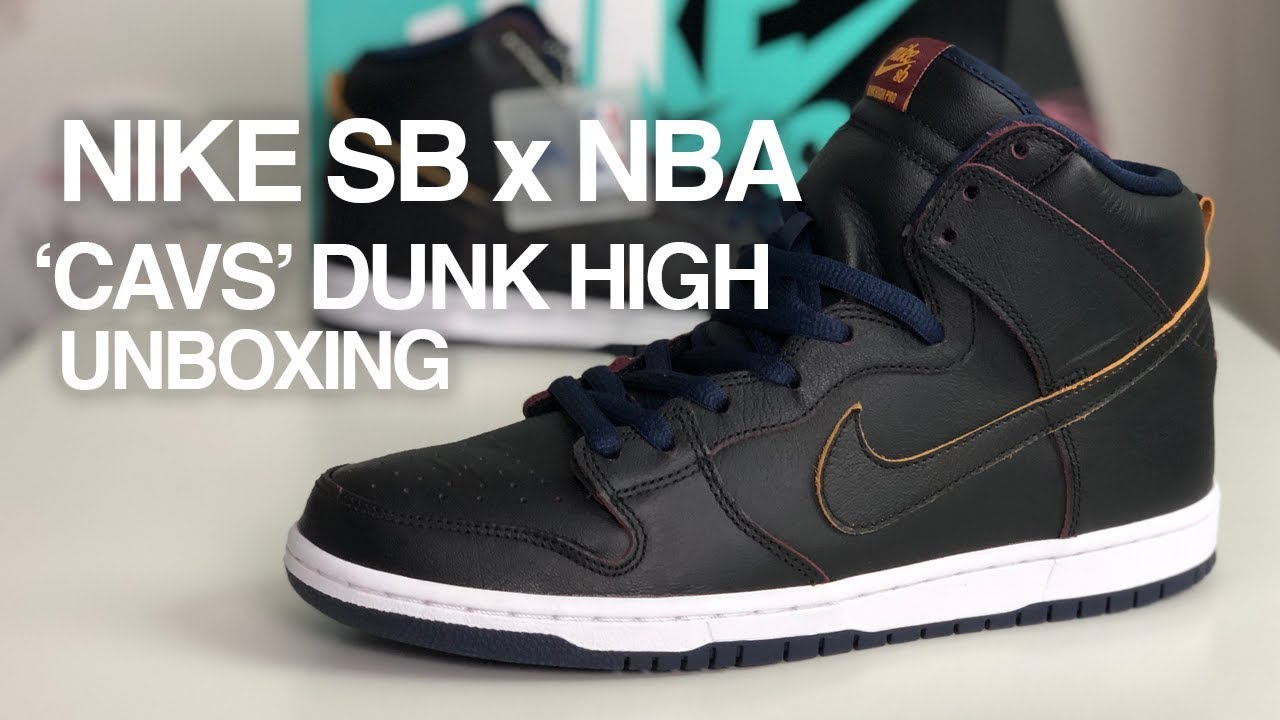 brand new 241b2 9437b NBA x Nike SB Dunk High Pro 'Cleveland Cavalier' Sneaker Unboxing