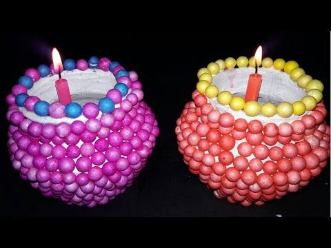 Easy DIY Diwali Christmas Home Decoration Ideas Amazing With Thermocol Balls Candles