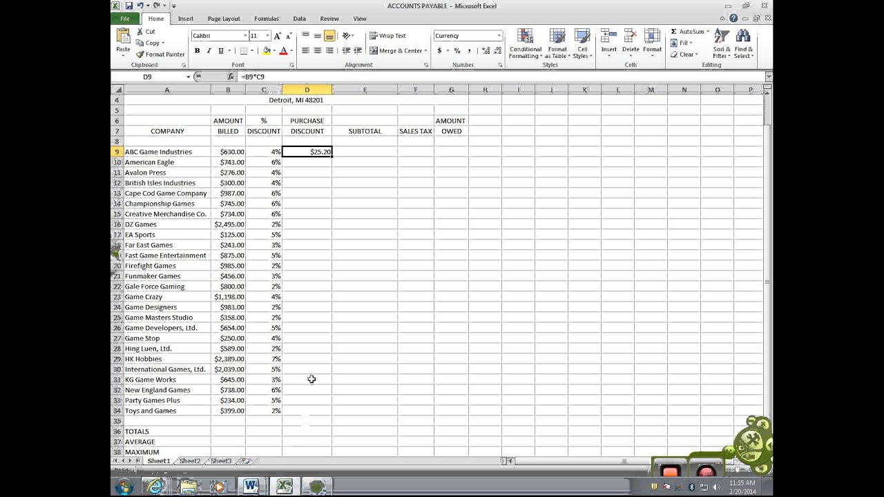 Excel 5 Accounts Payable Youtube