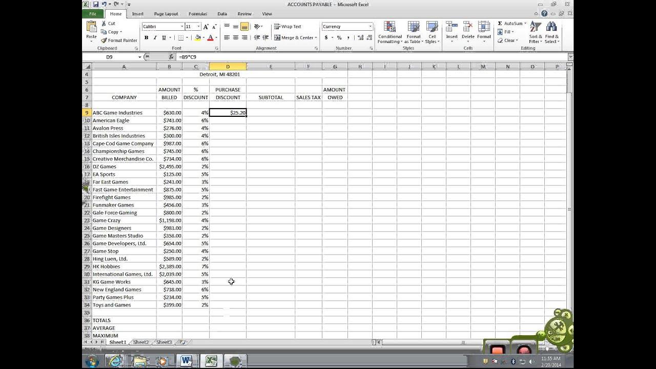 Excel 5 - Accounts Payable - YouTube