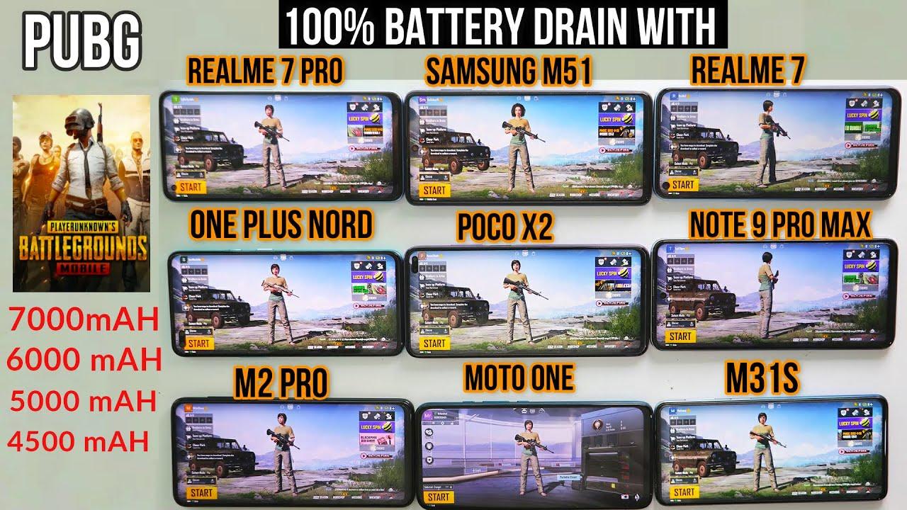 Download Realme 7 pro vs Samsung M51 vs Realme 7 vs Poco vs One plus vs M31s  [100% battery drain pubg]