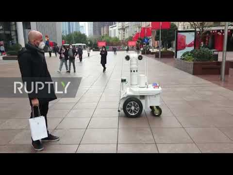 China: Police Robot Patrols Shanghai Streets Amid Coronavirus Outbreak