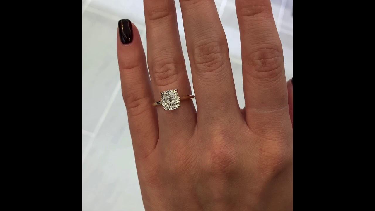 2.7 carat Cushion Cut Diamond Yellow Gold Solitaire Ring