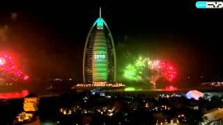 Dubai New Year 2016 fireworks Burj Al Arab احتفالات الألعاب النارية للسنة الجديدة 2016 في برج العرب
