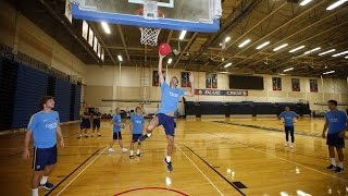 FC Barcelona players play basketball at American University