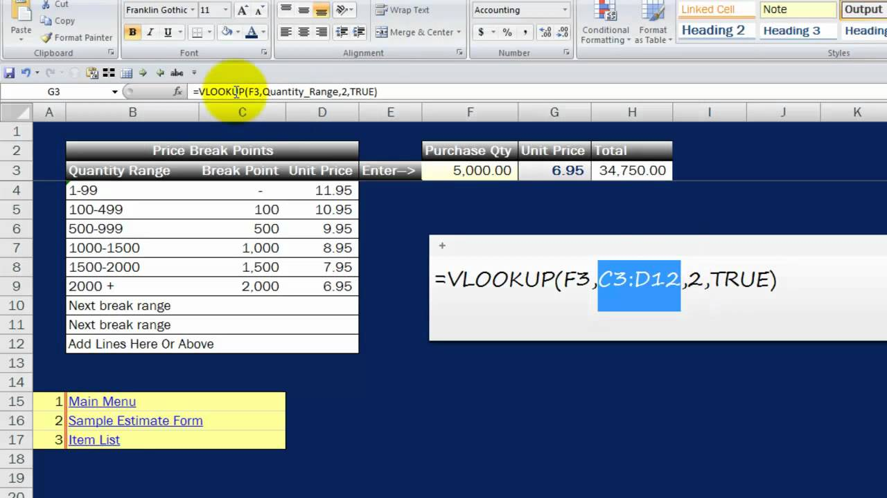 Calculating Price Break Points An Ms Excel Tutorial Youtube