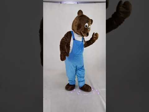 Brown Bear In Overalls Mascot Costumes Animal.  Ours Brun En Salopette Costumes De Mascotte Animal