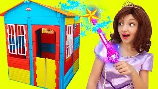 Princesses Build Toy House with Magic Stick for kids