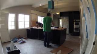 Kitchen Remodeling - Day 11 Of 17 - Trim Work, Counter Tiling Preparation, Cabinet Construction