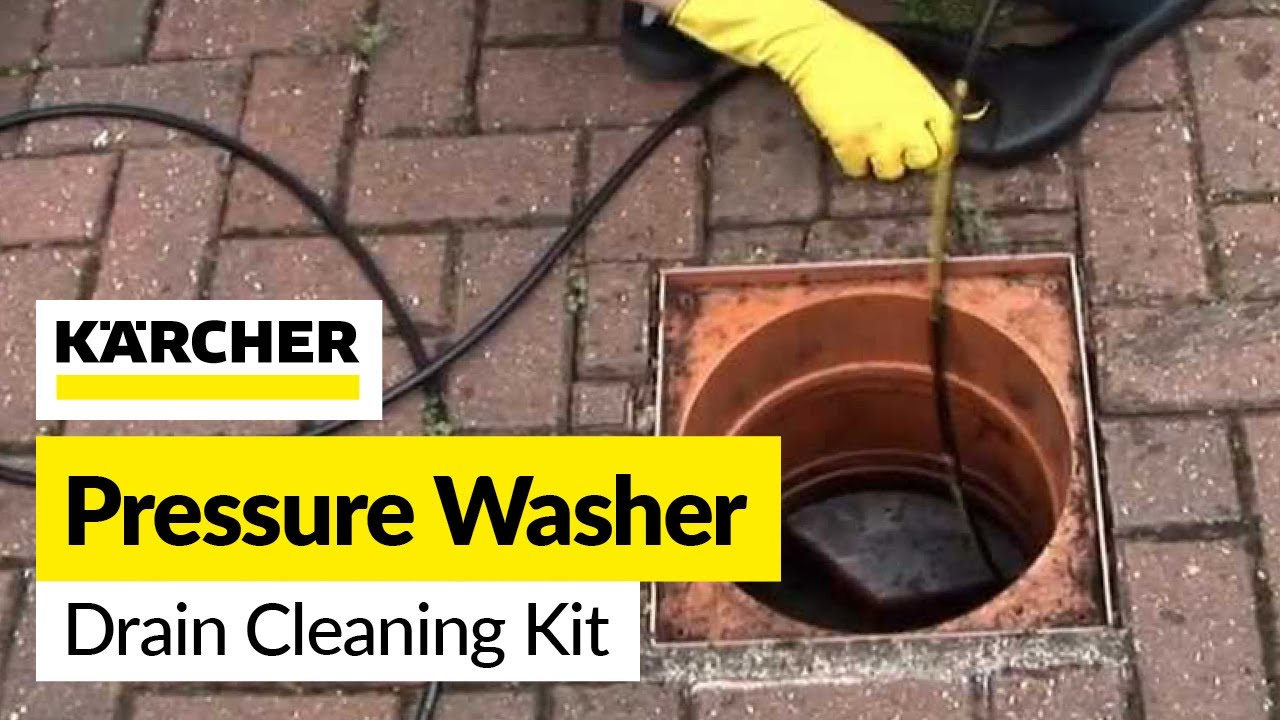 How to unblock a drain: Karcher Drain Cleaning Kit accessory - YouTube