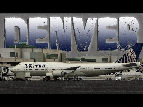 FSX [HD] - United Airlines | Boeing 747-8i | Snowstorm Approach | Denver